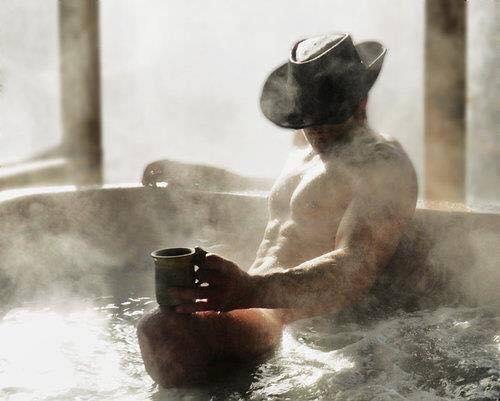 cowboy in a hot tub